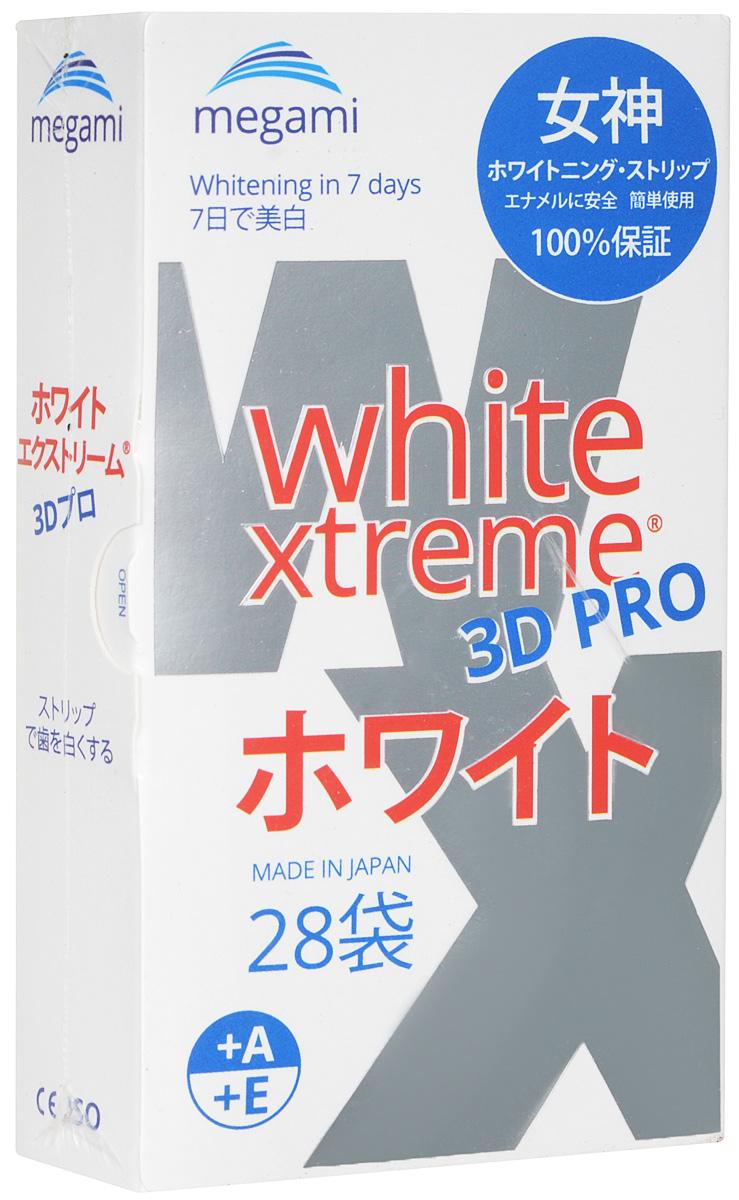 купить Megami White Xtreme 3D PRO отбеливающие полоски для зубов (с витаминами А и Е), для дневного использования, 14 пар по цене 1757 рублей