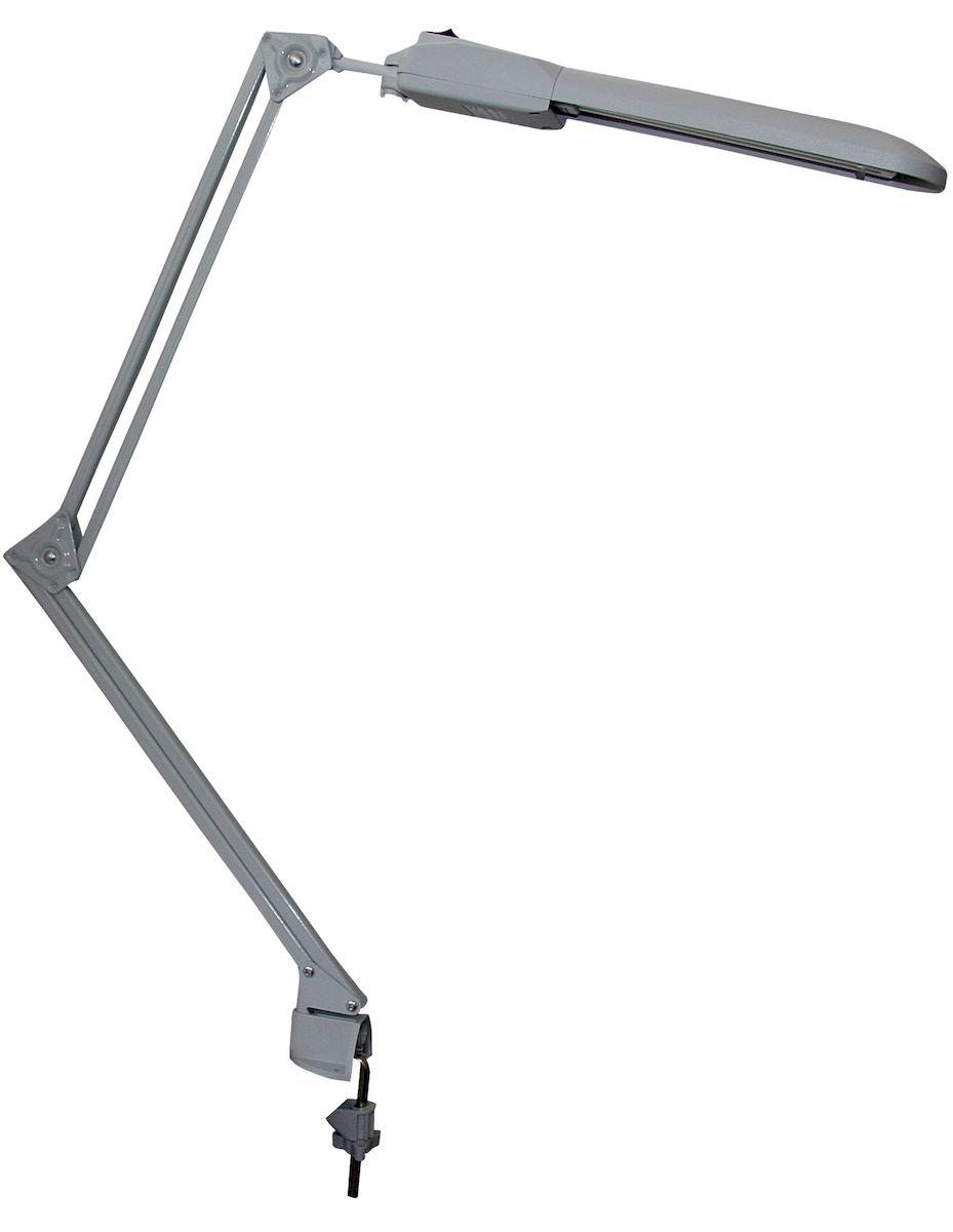 Светильник Трансвит Дельта, 2G7, 11W4607053880700Светильник Трансвит Дельта оснащен металлической струбциной для жесткого крепления на любой поверхности. Струбцина крепится к поверхности, толщиной не более 5 см. Благодаря подвижному кронштейну может занимать любое положение для удобного подсвечивания рабочей поверхности. Округлый плафон выполнен из пластика, кронштейн и струбцина из металла. Светильник Трансвит Дельта рассчитан на люминесцентную лампу с цоколем 2G7 мощностью 11Вт (входит в комплект, нейтральный белый свет, цветовая температура 4000 К). Длина шнура 1,3м.