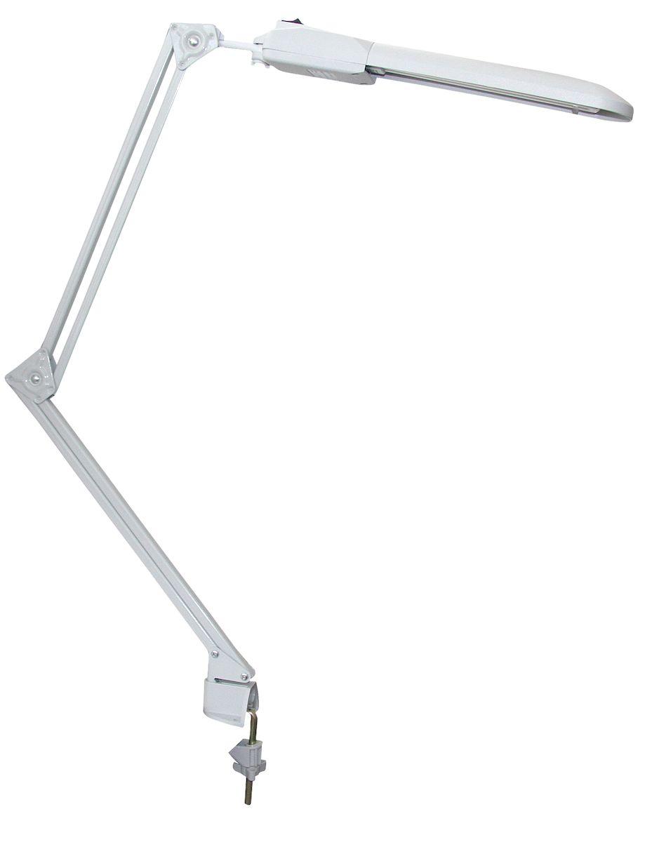 """Энергосберегающие светильники серии """"Дельта"""" с компактной люминесцентной лампой типа FSD-11/40/ 1B-I-G23 (или аналогичной лампой других фирм) для создания высокого светового комфорта на учебных и рабочих местах, в местах чтения и отдыха и т.д.Питание лампы осуществляется от источника электропитания адаптерного типа.Конструкция светильников допускает установку плафона во всех плоскостях.Отражатель светильников обеспечивает равномерное освещение поверхности.Модификация:настольные - на подставке;пристраиваемые - на струбцине (с двойной и укороченной стойкой);настенные - крепление на планку к стене.Тип светильника: настольная лампа.Источник света: компактная люминесцентная лампа.Мощность лампы: 11 Вт.Тип цоколя: 2G7.Материал корпуса: пластик.С диммером: нет.С выключателем: да.Класс защиты от поражения электрическим током: II.В комплекте с лампой: да.Цвет корпуса: белый."""