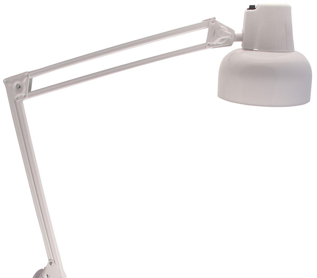 Светильник рассчитан на лампы накаливания с цоколем Е27 (лампа в комплект не входит). Многозвенная шарнирная конструкция плафона позволяет установить его в удобное для пользователя положение. Выключатель расположен на плафоне светильника. Осветительный прибор предназначен для закрытых сухих помещений - жилых квартир, офисов, производственных мастерских. Фиксацию обеспечивает металлическая струбцина, которая крепится к любому краю стола или стеллажа.