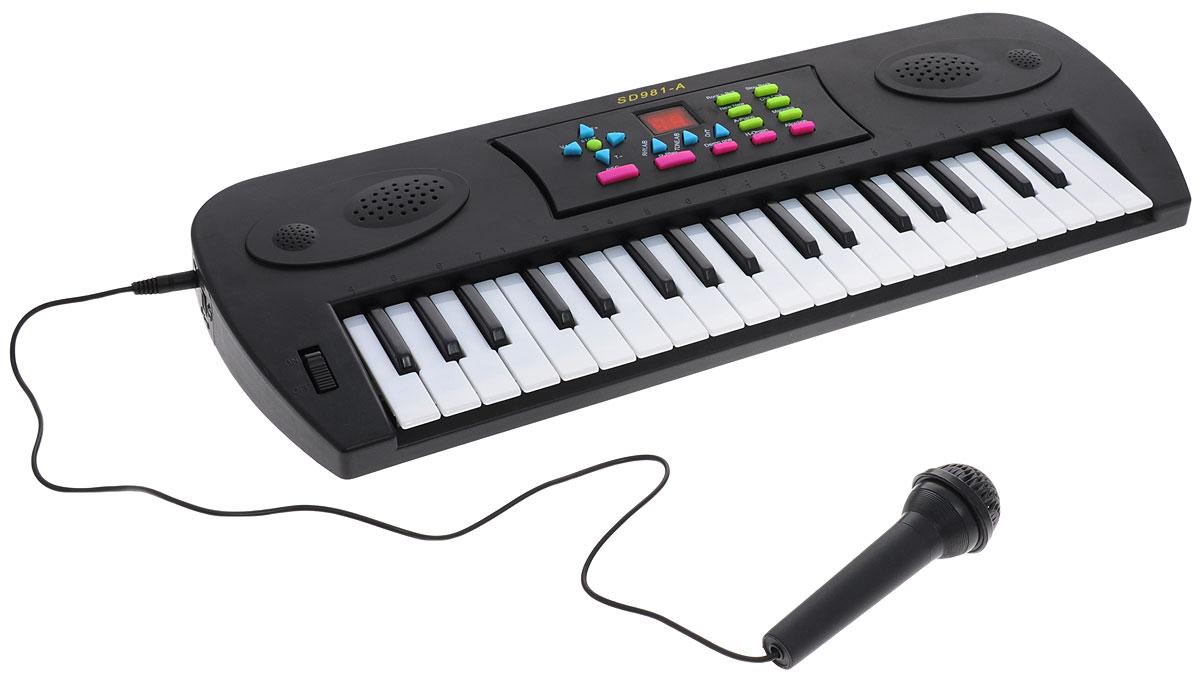 ABtoys Синтезатор DoReMi 37 клавиш с микрофоном цвет черный D-00024
