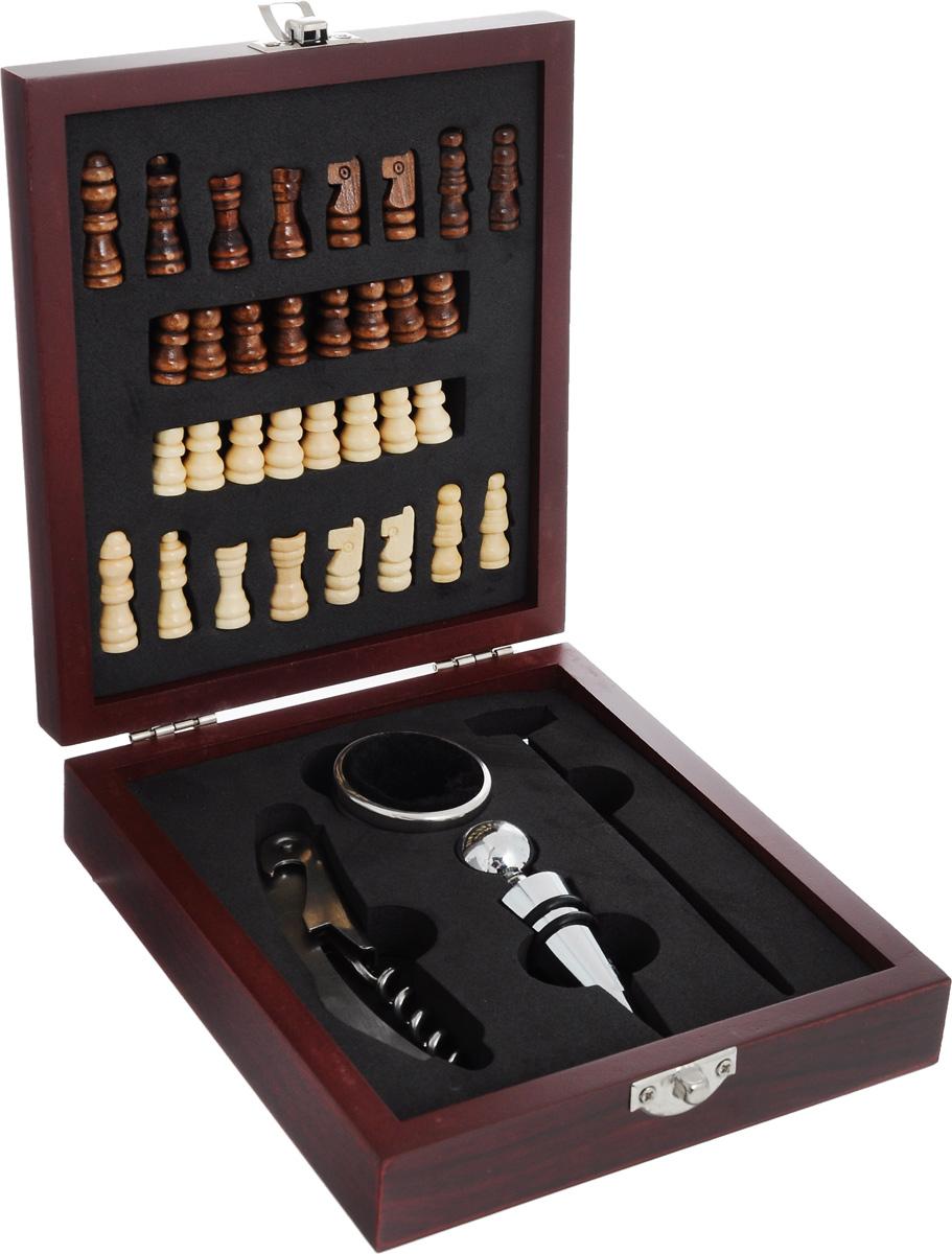 Набор подарочный Феникс-Презент. 4068840688Набор подарочный Феникс-Презент включает деревянные шахматные фигуры, нож сомелье, пробку для бутылок, кольцо для бутылки, жидкостный термометр для вина. Предметы набора хранятся в деревянной шкатулке, на крышку которой нанесено поле для игры в шахматы. В данном наборе есть все необходимые аксессуары для вина. Нож сомелье оснащен встроенным винтовым штопором, ножиком для обрезания фольги и открывалкой для кроне-пробок. Кольцо для бутылки представляет собой насадку для горлышка винной бутылки. Особая форма изделия и мягкий внутренний материал не позволяют каплям вина стекать по бутылке на скатерть. При помощи пробки можно несколько раз открывать и закрывать бутылку, не боясь испортить букет. А термометр поможет измерить температуру напитка. Такой набор станет приятным и практичным подарком к любому празднику. Его удобно брать с собой в путешествия и поездки. Идеальный подарок для всех ценителей вин. Высота шахматных фигур: 2-3 см. Размер ножа сомелье: 11 х 2,5 х 1 см. Длина пробки: 9 см. Размер кольца: 4 х 4 х 2 см. Длина термометра: 13 см. Размер поля для шахмат: 12 х 12 см. Размер шкатулки: 16,8 х 14,8 х 4,3 см.