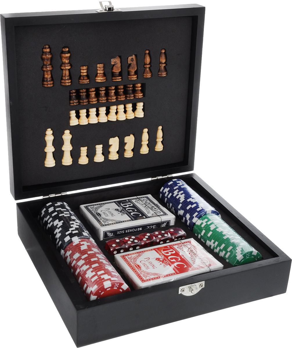 Набор подарочный Феникс-Презент. 4068640686Набор подарочный Феникс-Презент включает деревянные шахматные фигуры, две колоды игральных карт, 5 игральных костей и 100 фишек разного цвета. Предметы набора хранятся в деревянной шкатулке, на крышку которой нанесено поле для игры в шахматы. Такой набор станет приятным и практичным подарком к любому празднику. Его удобно брать с собой в путешествия и поездки. Высота шахматных фигур: 2-4,5 см. Размер колоды: 9 х 6,5 х 2 см. Размер игральной кости: 1,7 х 1,7 х 1,7 см. Диаметр фишки: 4 см. Размер поля для шахмат: 16 х 16 см. Размер шкатулки: 22,8 х 20,2 х 6,5 см.