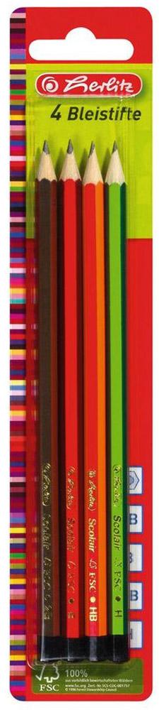 Herlitz Набор чернографитных карандашей 4 шт8670051Набор чернографитных карандашей от Herlitz - это прекрасный атрибут для современного школьника илистудента. Каждый карандаш в наборе покрыт цветным лаком на водной основе.Корпус каждого карандашаизготовлен из натуральной древесины и гарантирует легкое, аккуратное затачивание и экономичное,длительное использование.Этот набор карандашей от Herlitz отлично подойдет для различных графическихили чертежных работ.