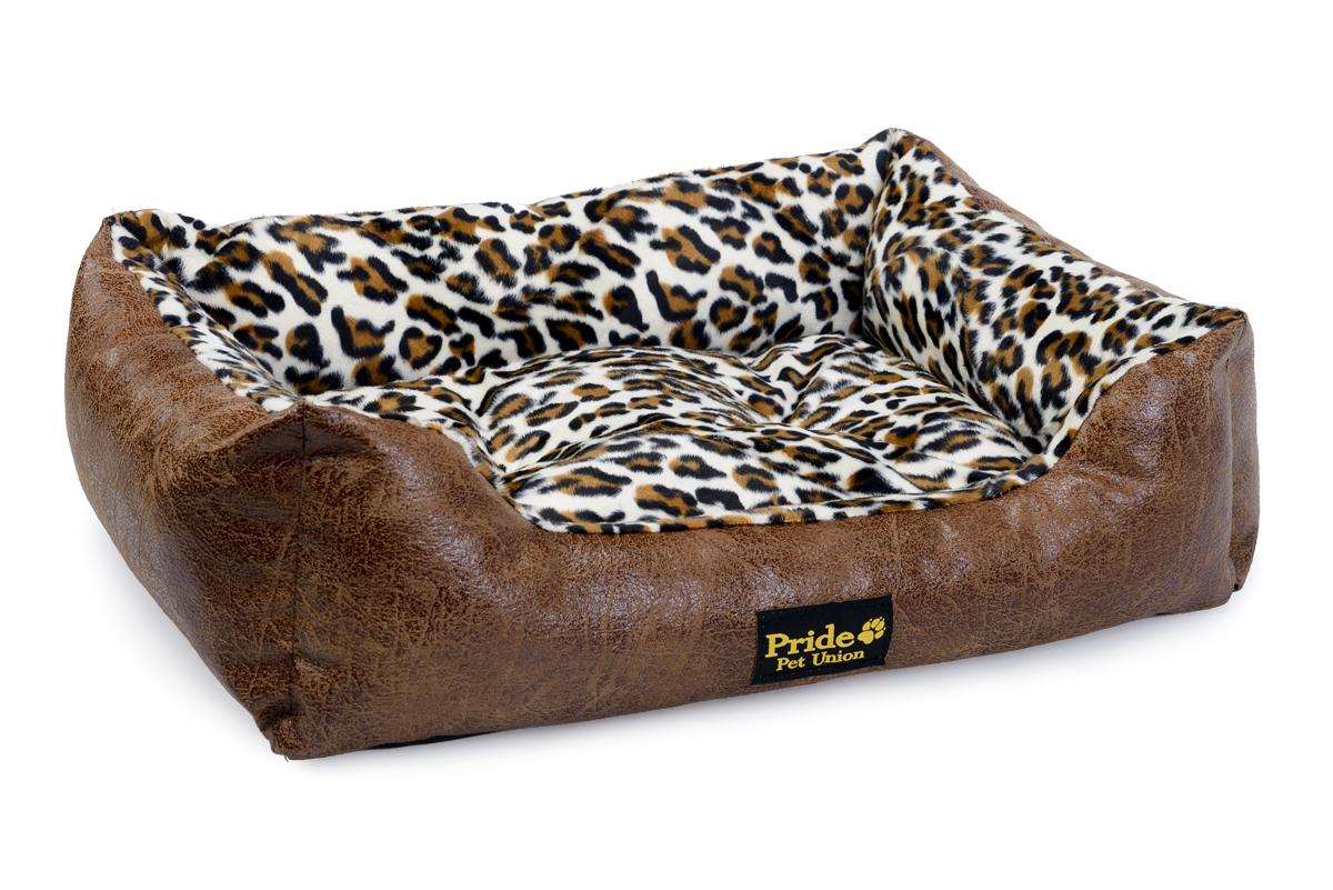 Лежак для животных Pride Гепард, цвет: коричневый, белый, 67 х 56 х 20 см интернет магазин гепард