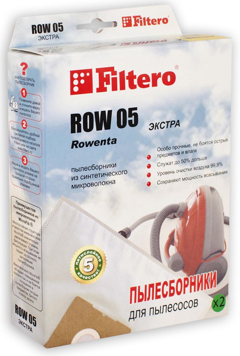Filtero ROW 05 Экстра комплект пылесборников, 2 штROW 05 (2) ЭКСТРАПылесборники Filtero ROW 05 Экстра произведены из синтетического микроволокна MicroFib. Очень прочные, они не боятся острых предметов и влаги, собирают больше пыли (до 50%) и обеспечивают уровень очистки воздуха 99,9%, что значительно выше, чем у бумажных пылесборников. При этом мощность всасывания пылесоса сохраняется в течение всего периода службы пылесборника.Подходят для следующих моделей пылесосов:Rowenta:Bully RB 08, 14, 50 - 70, RB 500 - RB 526, RB 602, RB 700 - RB 720, RB 800 - RB 860Turbo Bully, Super Bully 5 in 1RD 200, RD 215, RH 05, RH 10 - RH 12, SC 020RU 01 - 15, RU 020, RU 065, RU 070, RU 071RU100 - RU 110, RU 200,RU 600 -RU 699, SC 020Clean Wash, CollectoAEG:NT 1200Bosch:BMS 1000 - BMS1999, BMS 2100 - BMS 2299например: BMS 1300 Siemens:VM 10000 - 10999, 15000 - 15999, 30000 - 39999например: VM 35001BORK:VC 9509 GR, VC 9618 GY, VC 9710, VC 9716, VC 9718Conti:VC 190 - VC 360 Dillinger, VC 1001 Hobby VacVC 400, VC 402 Hydro MagicDe Longhi:XE 1200..., XE 1251, XE 1271, XW 1200, XD 1000XWF 1500 E, XWDA 150 Darel, Multivac M 31, PentaElectrolux:Aqualux, Masterlux, TwinstreamHitachi:WDE 1000Hoover:S 6145, Jet'n'washKARCHER:A 2701 TE, K 2701, K 2731 TEPhilips:HL 2475, HL 6651, HL 6661, HR 6651 - 6675Thomas:Bravo 20, BioVac 20, Compact 20, Inox 1220 / 1520Junior 1220, Powerboy 1218, Power Edition 1520Power Pack 1620, Pro Inox 20, Vario 20, Silence 1120