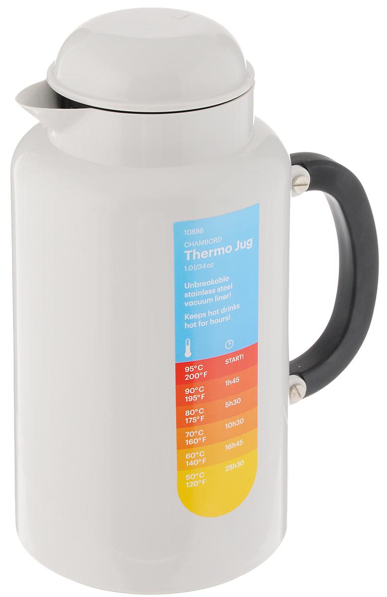 Термокувшин Bodum Chambord, цвет: белый, 1 л10886-913TLТермокувшин Bodum Chambord сохраняет определенную температуру напитков на протяжении длительного времени. Внутренние стенки термокувшина изготовлены из двух слоев высококачественной нержавеющей стали. В промежутке между ними создан вакуум - это помогает сохранять температуру внутри. Внешний корпус изготовлен из прочного пластика. Термокувшин надежно закрывается завинчивающейся крышкой.Термокувшин Bodum Chambord займет достойное место на вашей кухне, а благодаря яркому и оригинальному дизайну станет украшением кухонного интерьера.Высота термокувшина (с учетом крышки): 23,5 см. Диаметр основания термокувшина: 12,5 см. Диаметр (по верхнему краю): 8,5 см. Диаметр горлышка: 4,5 см.