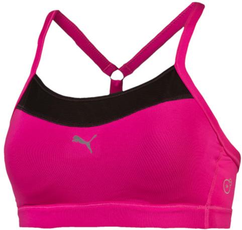 Топ-бра для фитнеса Puma Pwrshape Energize, цвет: розовый. 51396409. Размер XS (40/42)513964_09Спортивный топ-бра Puma Pwrshape Energize изготовлен из полиэстера с добавлением эластана с использованием высокофункционального материала dryCELL, который отводит влагу, поддерживает тело сухим и гарантирует комфорт во время активных тренировок и занятий спортом. Данная модель идеальна для физических нагрузок средней интенсивности и является на 100% дышащей. Модель имеет литые чашечки, что обеспечивает отличную поддержку груди. В зонах возможного перегрева имеются вставки из сетчатого материала. Удобная конструкция наплечных лямок, соединяющихся при помощи кольца с центральной лямкой на спине регулируемой длины, позволяет полностью подогнать изделие по фигуре. Эластичная резинка обеспечивает удобную посадку модели. Светоотражающие элементы увеличивают вашу безопасность в темное время суток. Такая модель выгодно подчеркнет фигуру и станет незаменимой во время занятий спортом.