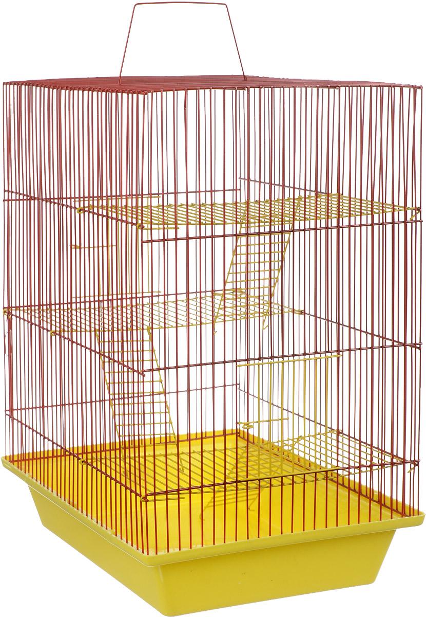 Клетка для грызунов ЗооМарк Гризли, 4-этажная, цвет: желтый поддон, красная решетка, желтые этажи, 41 х 30 х 50 см. 240ж240ж_желтый, красныйКлетка ЗооМарк Гризли, выполненная из полипропилена и металла, подходит для мелких грызунов. Изделие четырехэтажное. Клетка имеет яркий поддон, удобна в использовании и легко чистится. Сверху имеется ручка для переноски.Такая клетка станет уединенным личным пространством и уютным домиком для маленького грызуна.