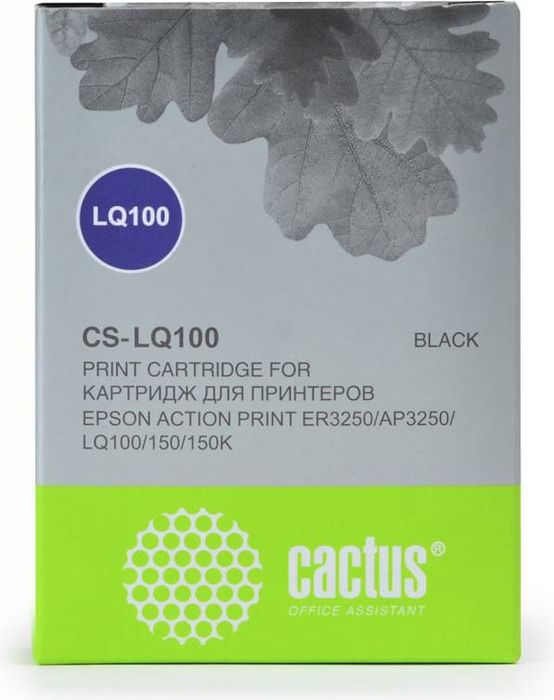 Cactus CS-LQ100, Black картридж ленточный для Epson LQ-100/AP-3250CS-LQ100Картридж ленточный Cactus CS-LQ100 для матричных принтеров Epson LQ-100/AP-3250.Расходные материалы Cactus для печати максимизируют характеристики принтера. Они обеспечивают повышенную четкость изображения и надежное качество печати.