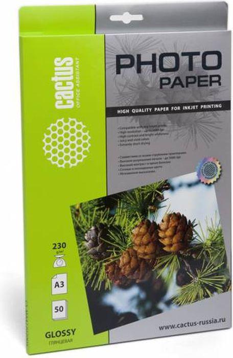 Cactus CS-GA323050 A3/230г/м2 глянцевая фотобумага для струйной печати (50 листов) фотобумага cactus cs ma317050d