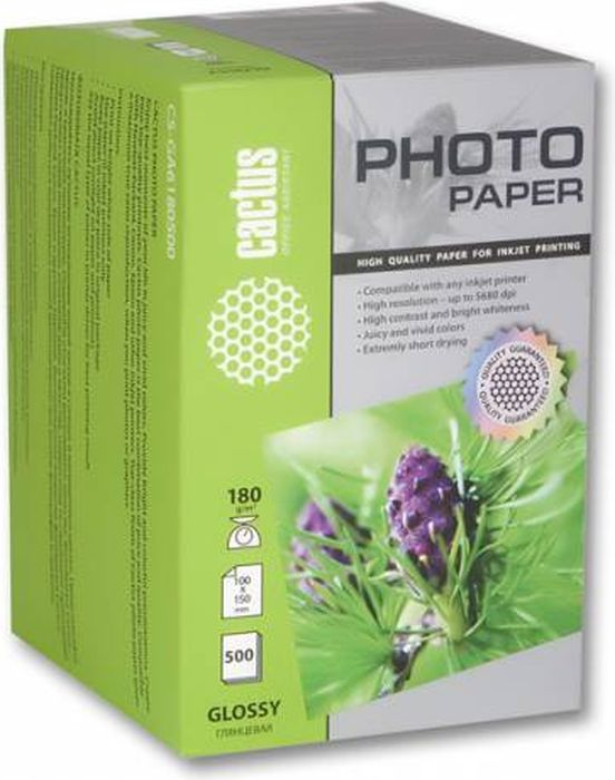 Cactus CS-GA6180500/180г/м2 глянцевая фотобумага для струйной печати (500 листов)CS-GA6180500Фотобумага Cactus CS-GA6180500 с глянцевым покрытием для струйной печати.Наслаждайтесь лучшими мгновениями вашей жизни в сочных и насыщенных цветах. Представляйте яркие и красочные презентации. Создавайте отпечатки высочайшего качества. Фотобумага Cactus совместима со струйными принтерами Hewlett Packard, Canon, Epson и другими марками. Высококлассное покрытие фотобумаги Cactus позволяет добиться максимально точной цветопередачи при печати фотографий и графики.