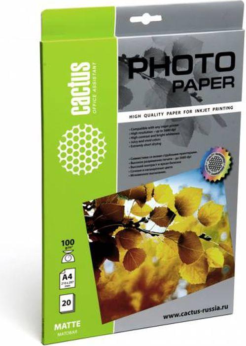 Cactus CS-MA410020 A4/100г/м2 матовая фотобумага для струйной печати (20 листов)CS-MA410020Фотобумага Cactus CS-MA410020 с матовым покрытием для струйной печати.Наслаждайтесь лучшими мгновениями вашей жизни в сочных и насыщенных цветах. Представляйте яркие и красочные презентации. Создавайте отпечатки высочайшего качества. Фотобумага Cactus совместима со струйными принтерами Hewlett Packard, Canon, Epson и другими марками. Высококлассное покрытие фотобумаги Cactus позволяет добиться максимально точной цветопередачи при печати фотографий и графики.