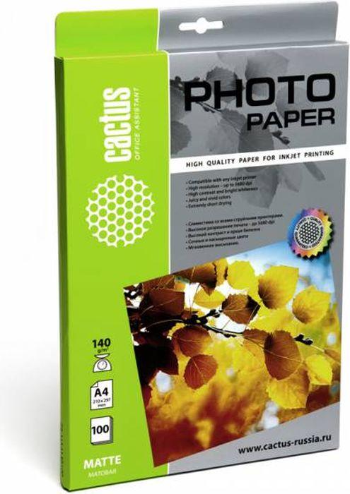Cactus CS-MA4140100 A4/140г/м2 матовая фотобумага для струйной печати (100 листов) фотобумага cactus cs ga6180100e 10x15 180g m2 100 листов white glossy
