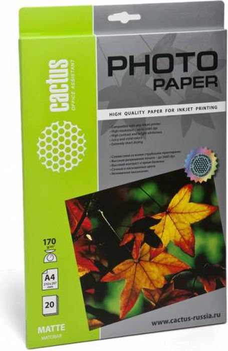 Cactus CS-MA417020 A4/170г/м2 матовая фотобумага для струйной печати (20 листов)CS-MA417020Фотобумага Cactus CS-MA417020 с матовым покрытием для струйной печати.Наслаждайтесь лучшими мгновениями вашей жизни в сочных и насыщенных цветах. Представляйте яркие и красочные презентации. Создавайте отпечатки высочайшего качества. Фотобумага Cactus совместима со струйными принтерами Hewlett Packard, Canon, Epson и другими марками. Высококлассное покрытие фотобумаги Cactus позволяет добиться максимально точной цветопередачи при печати фотографий и графики.