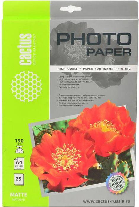 Cactus CS-MA419025 A4/190г/м2 матовая фотобумага для струйной печати (25 листов)CS-MA419025Фотобумага Cactus CS-MA419025 с матовым покрытием для струйной печати.Запечатлевайте лучшие мгновения вашей жизни в сочных и насыщенных цветах. Представляйте яркие икрасочные презентации. Наслаждайтесь отпечатками высочайшего качества. Матовая бумага Cactus идеальноподходит для печати графиков и презентаций. На бумагах невысокой плотностей удобно делать многостраничныеотчеты. Матовая бумага будет незаменима при печати приглашений, бизнес-писем, оригиналов важныхдокументов и меню. Также эта бумага идеально подходит для печати фото на документы.