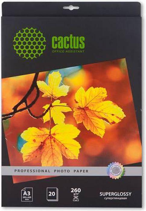 Cactus Prof CS-HGA326020 A3/260г/м2 глянцевая фотобумага для струйной печати (20 листов)CS-HGA326020Суперглянцевая фотобумага Cactus Prof CS-HGA326020 для струйной печати.Превратите ваши фотографии в произведения искусства и сохраните их в первозданном виде на многие годы. Фотобумага серии Cactus Professional незаменима для печати цифровых фотографий с максимальным разрешением. Высококлассное покрытие и современная полимерная основа фотобумаги Cactus Professional гарантируют максимально точную цветопередачу.Совместима со струйными принтерами Hewlett Packard, Canon, Epson и другими марками. Рекомендуется для профессионального использования в фотостудиях, дизайнерских и художественных бюро.