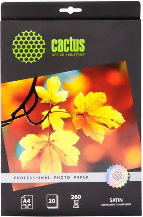 Cactus Prof CS-SMA426020 A4/260г/м2 сатиновая фотобумага для струйной печати (20 листов)CS-SMA426020Сатиновая фотобумага Cactus Prof CS-SMA426020 для струйной печати.Превратите ваши фотографии в произведения искусства и сохраните их в первозданном виде на многие годы.Фотобумага серии Cactus Professional незаменима для печати цифровых фотографий с максимальнымразрешением. Высококлассное покрытие и современная полимерная основа фотобумаги Cactus Professionalгарантируют максимально точную цветопередачу.Совместима со струйными принтерами Hewlett Packard, Canon, Epson и другими марками. Рекомендуется дляпрофессионального использования в фотостудиях, дизайнерских и художественных бюро.
