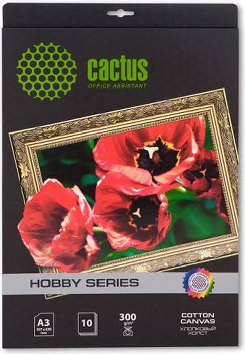 Cactus CS-СA326010 A3/300г/м2 холст для струйной печати (10 листов)CS-СA326010Хлопковый холст Cactus CS-СA326010 для струйной печати.Арт-бумага Cactus позволит вам воплотить самые смелые идеи и вдохновенные идеи для творчества и бизнеса.Специальное тиснение превратит в произведение искусства даже обычный текст и станет изысканным штрихом, дополняющим фирменный стиль и имидж ваших отпечатков. Совместимость со струйными принтерами Hewlett-Packard, Canon, Epson и другими марками.