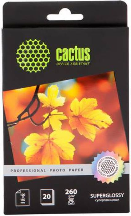 Cactus Prof CS-HGA626020 10x15/260г/м2 глянцевая фотобумага для струйной печати (20 листов) фотобумага cactus cs ga6180100e 10x15 180g m2 100 листов white glossy