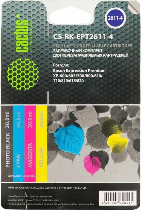 Cactus CS-RK-EPT2611-4 цветные чернила для заправки ПЗК для Epson Home XP-600 комплект перезаправляемых картриджей cactus cs r can520