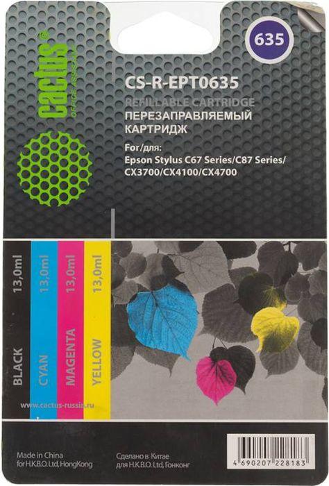 Cactus CS-R-EPT0635 комплект перезаправляемых струйных картриджей для Epson Stylus C67 Series/C87 Series/CX3700/CX4100 cactus cs ept0631 black струйный картридж для epson stylus c67 series c87 series cx3700