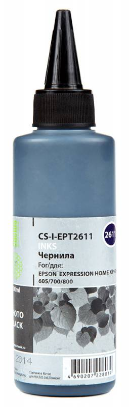 Cactus CS-I-EPT2611, Black фото чернила для Epson ExpIession Home XP-600/605/700/800 l805 epson чернила