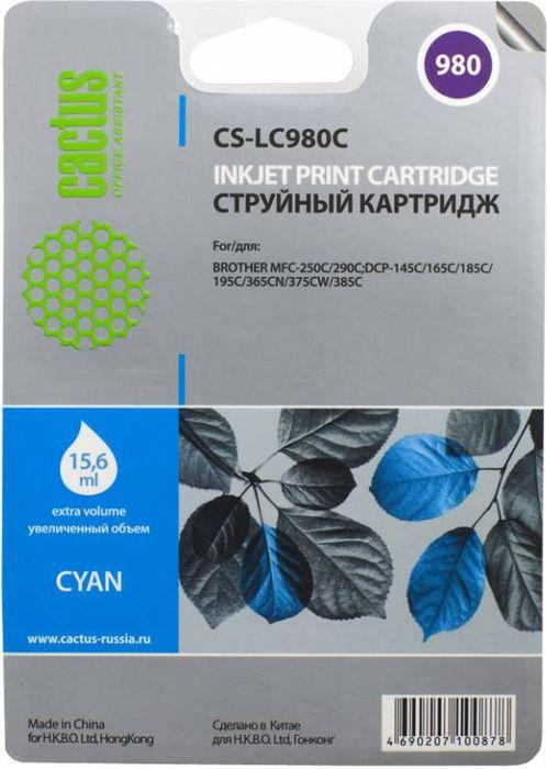 все цены на Cactus CS-LC980C, Cyan картридж струйный для Brother DCP-145C/165C/MFC-250C/290C онлайн