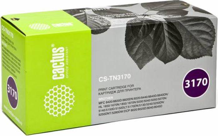 Cactus CS-TN3170, Black тонер-картридж для Brother HL-5240/5250DN/5250DNT/5280DWCS-TN3170Тонер-картридж Cactus CS-TN3170 для лазерных принтеров Brother HL-5240/5250DN/5250DNT/5280DW.Расходные материалы Cactus для лазерной печати максимизируют характеристики принтера. Обеспечивают повышенную чёткость чёрного текста и плавность переходов оттенков серого цвета и полутонов, позволяют отображать мельчайшие детали изображения. Гарантируют надежное качество печати.