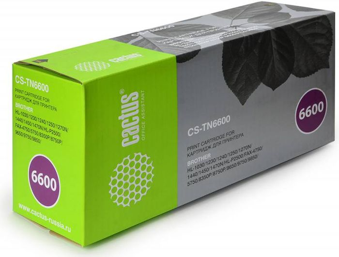 Cactus CS-TN6600, Black тонер-картридж для Brother HL-1030/1230/1240/1250/1270N/1440/1450CS-TN6600Тонер-картридж Cactus CS-TN6600 для лазерных принтеров Brother HL-1030/1230/1240/1250/1270N/1440/1450.Расходные материалы Cactus для лазерной печати максимизируют характеристики принтера. Обеспечивают повышенную чёткость чёрного текста и плавность переходов оттенков серого цвета и полутонов, позволяют отображать мельчайшие детали изображения. Гарантируют надежное качество печати.
