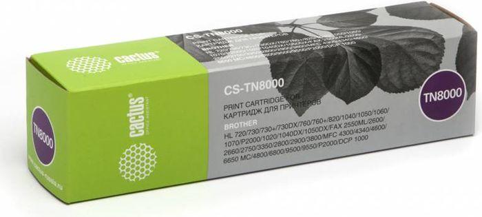 Cactus CS-TN8000, Black тонер-картридж для Brother HL-720/730/730+/730DX/760/760+CS-TN8000Тонер-картридж Cactus CS-TN8000 для лазерных принтеров Brother HL-720/730/730+/730DX/760/760+.Расходные материалы Cactus для лазерной печати максимизируют характеристики принтера. Обеспечивают повышенную чёткость чёрного текста и плавность переходов оттенков серого цвета и полутонов, позволяют отображать мельчайшие детали изображения. Гарантируют надежное качество печати.