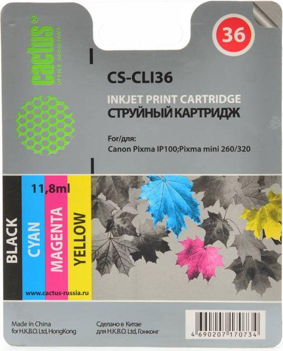 Cactus CS-CLI36, Color картридж струйный для Canon Pixma 260 картридж совместимый для струйных принтеров cactus cs pgi29co оптимизатор для canon pixma pro 1 36мл cs pgi29co