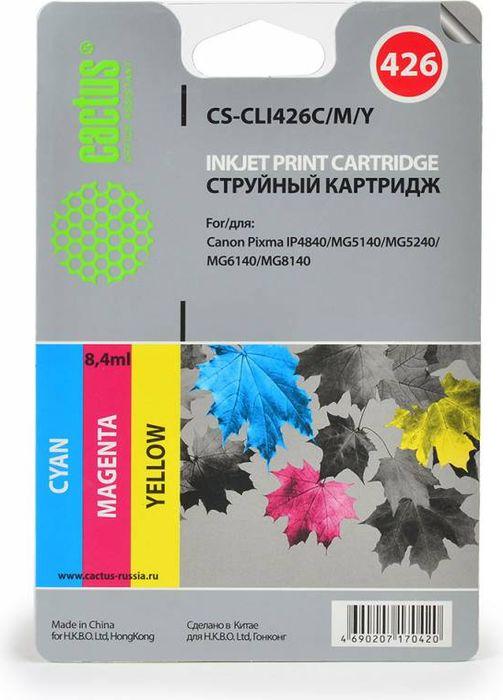 Cactus CS-CLI426C/M/Y, Cyan Magenta Yellow набор струйных картриджей для Canon MG5140/5240/6140/8140/MX884 картридж blossom bs cli 426c cyan для canon mg5240 mg5140 ip4840 6140 8140