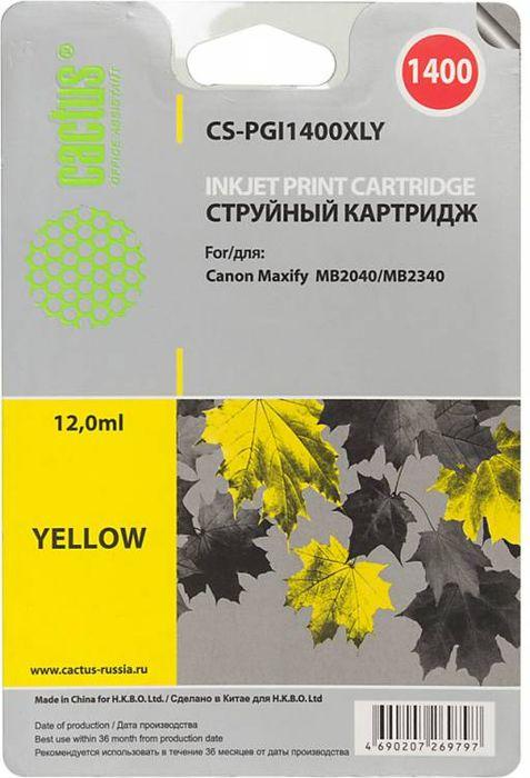 Cactus CS-PGI1400XLY, Yellow картридж струйный для Canon MB2050/MB2350/MB2040/MB2340 чернильный картридж canon pgi 29pm