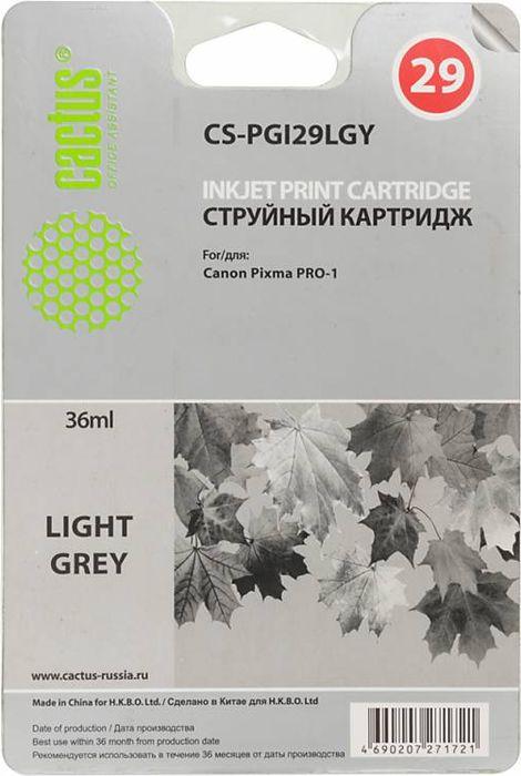 Cactus CS-PGI29LGY, Light Gray картридж струйный для Canon Pixma Pro-1CS-PGI29LGYКартридж Cactus CS-PGI29LGY для струйных принтеров Canon Pixma Pro-1.Расходные материалы Cactus для печати максимизируют характеристики принтера. Обеспечивают повышенную четкость изображения и плавность переходов оттенков и полутонов, позволяют отображать мельчайшие детали изображения. Обеспечивают надежное качество печати.