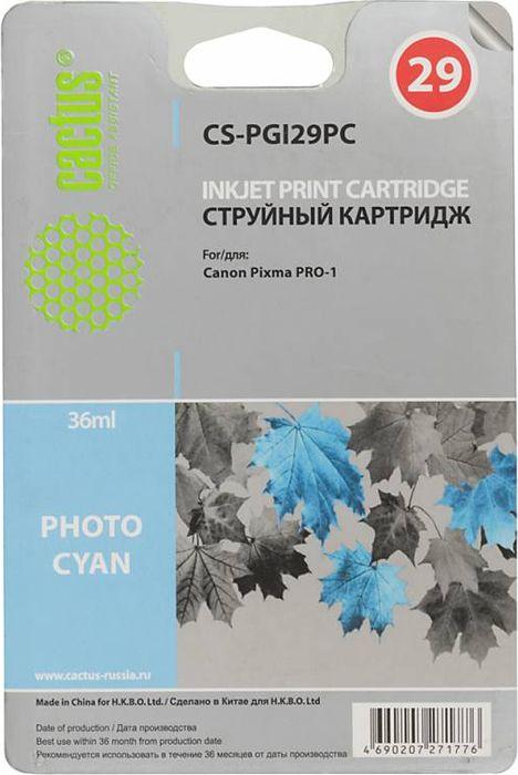 Cactus CS-PGI29PC, Photo Cyan картридж струйный для Canon Pixma Pro-1CS-PGI29PCКартридж Cactus CS-PGI29PC для струйных принтеров Canon Pixma Pro-1.Расходные материалы Cactus для печати максимизируют характеристики принтера. Обеспечивают повышенную четкость изображения и плавность переходов оттенков и полутонов, позволяют отображать мельчайшие детали изображения. Обеспечивают надежное качество печати.