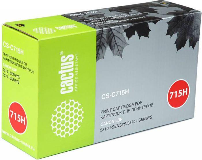Cactus CS-C715H, Black тонер-картридж для Canon i-Sensys 3310/3370 тонер картридж cactus csp c728 premium черный для canon i sensys mf4410 4430 4450 4550d 3000стр