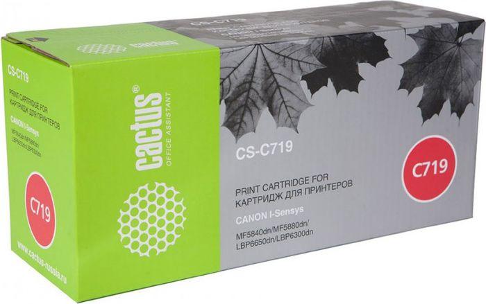 Cactus CS-C719, Black тонер-картридж для Canon i-Sensys MF5840/MF5880/LBP6300/6650 тонер картридж cactus csp c728 premium черный для canon i sensys mf4410 4430 4450 4550d 3000стр