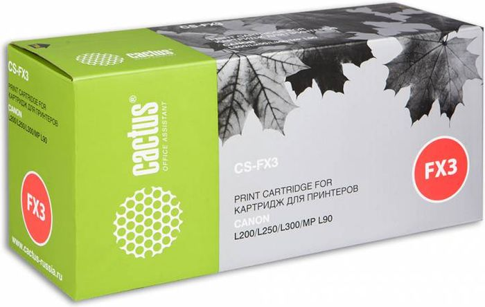 Cactus CS-FX3, Black тонер-картридж для Canon L200/L250/L300/MP-L90CS-FX3Тонер-картридж Cactus CS-FX3 для лазерных принтеров Canon L200/L250/L300/MP-L90.Расходные материалы Cactus для лазерной печати максимизируют характеристики принтера. Обеспечивают повышенную чёткость чёрного текста и плавность переходов оттенков серого цвета и полутонов, позволяют отображать мельчайшие детали изображения. Гарантируют надежное качество печати.