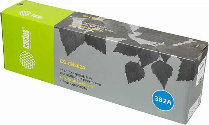 Cactus CS-CB382A, Yellow тонер-картридж для HP CLJ CM6030/CM6040/CP6015CS-CB382AТонер-картридж Cactus CS-CB382A для лазерных принтеров HP CLJ CP6015X/6015XH/6015DE.Расходные материалы Cactus для лазерной печати максимизируют характеристики принтера. Обеспечивают повышенную чёткость чёрного текста и плавность переходов оттенков серого цвета и полутонов, позволяют отображать мельчайшие детали изображения. Гарантируют надежное качество печати.