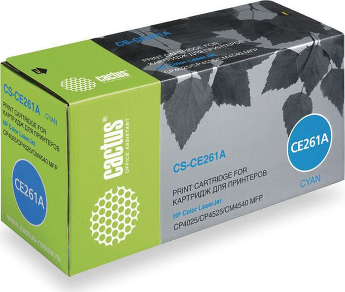 Cactus CS-CE261A, Cyan тонер-картридж для HP LJ CP4025/CP4525/CM4540 картридж hp 933xl cn054ae cyan