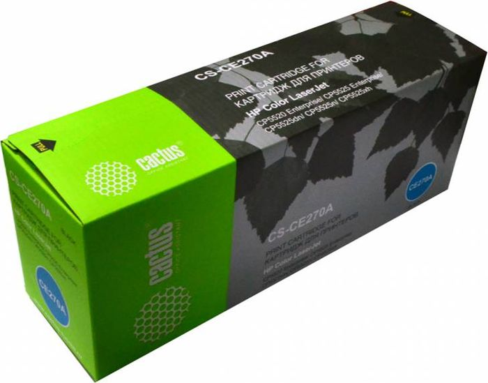 Cactus CS-CE270A, Black тонер-картридж для HP LJ Ent CP5525CS-CE270AТонер-картридж Cactus CS-CE270A для лазерных принтеров HP LJ Ent CP5525.Расходные материалы Cactus для лазерной печати максимизируют характеристики принтера. Обеспечивают повышенную чёткость чёрного текста и плавность переходов оттенков серого цвета и полутонов, позволяют отображать мельчайшие детали изображения. Гарантируют надежное качество печати.