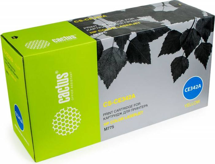 Cactus CS-CE342A, Yellow тонер-картридж для HP CLJ M775CS-CE342AТонер-картридж Cactus CS-CE342A для лазерных принтеров HP CLJ M775.Расходные материалы Cactus для лазерной печати максимизируют характеристики принтера. Обеспечивают повышенную чёткость чёрного текста и плавность переходов оттенков серого цвета и полутонов, позволяют отображать мельчайшие детали изображения. Гарантируют надежное качество печати.