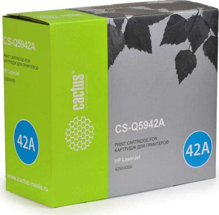 Cactus CS-Q5942A, Black тонер-картридж для HP LJ 4250/4350 картридж cactus cs ce313a purple для hp lj cp1012pro cp1025