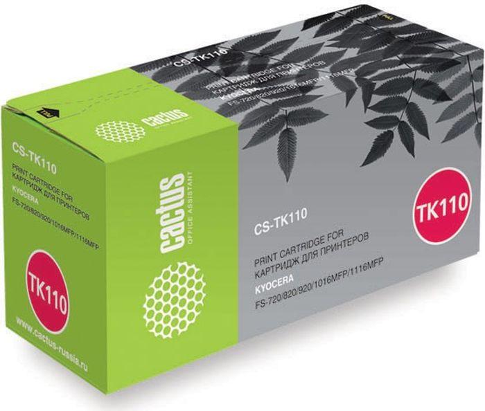 Cactus CS-TK110, Black тонер-картридж для Kyocera FS-720/820/920/1016MFP/1116MFPCS-TK110Тонер-картридж Cactus CS-TK110 для лазерных принтеров Kyocera FS-720/820/920/1016MFP/1116MFP.Расходные материалы Cactus для лазерной печати максимизируют характеристики принтера. Обеспечивают повышенную чёткость чёрного текста и плавность переходов оттенков серого цвета и полутонов, позволяют отображать мельчайшие детали изображения. Гарантируют надежное качество печати.