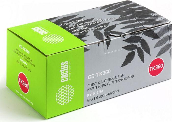Cactus CS-TK360, Black тонер-картридж для Kyocera Mita FS 4020/4020DNCS-TK360Тонер-картридж Cactus CS-TK360 для лазерных принтеров Kyocera Mita FS 4020/4020DN.Расходные материалы Cactus для лазерной печати максимизируют характеристики принтера. Обеспечивают повышенную чёткость чёрного текста и плавность переходов оттенков серого цвета и полутонов, позволяют отображать мельчайшие детали изображения. Гарантируют надежное качество печати.