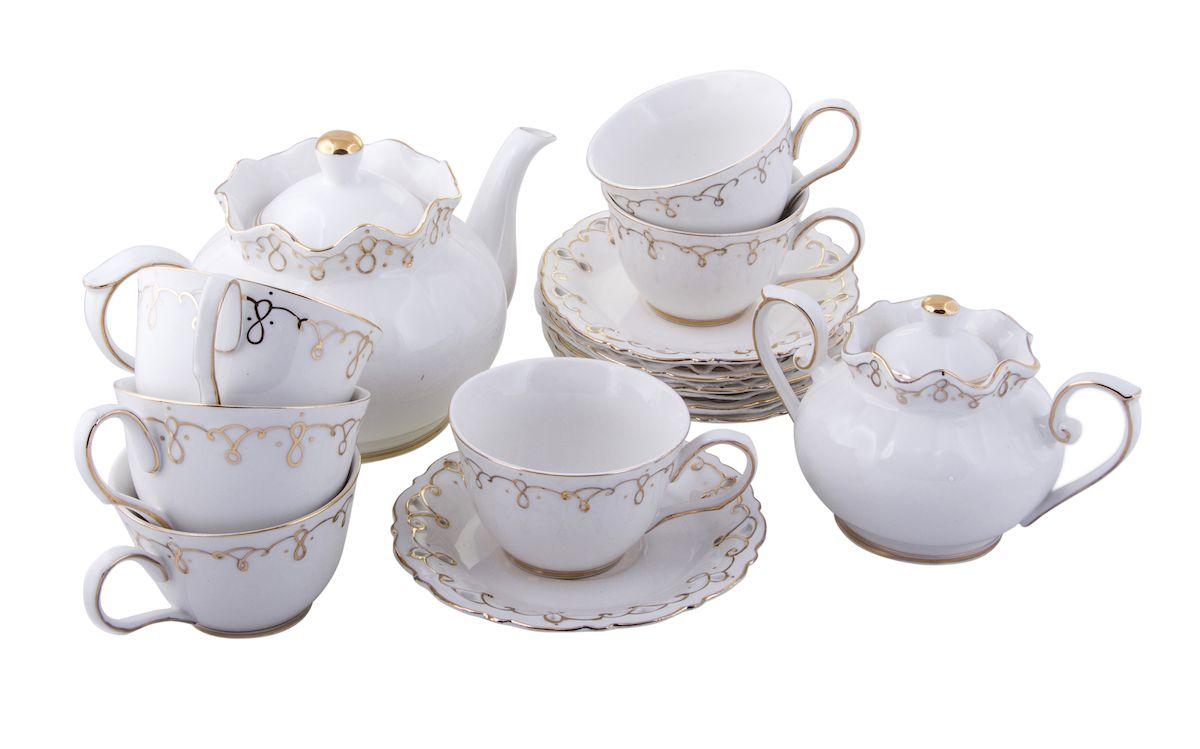 Чайный набор Rosenberg, 14 предметов. 867577.858@21926чайный набор, 14 предметов, чашка 200мл, чайник 1200 мл, блюдце 15,5см, сахарница 400г