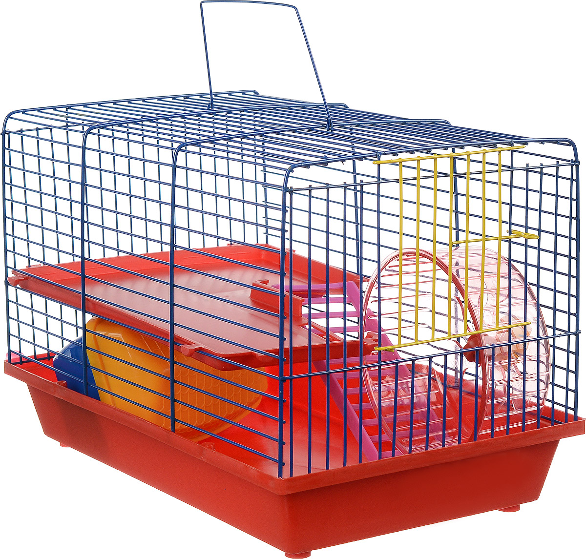 Клетка для грызунов ЗооМарк, 2-этажная, цвет: красный поддон, синяя решетка, красный этаж, 36 х 23 х 24 см125_красный, синий, красныйКлетка ЗооМарк, выполненная из полипропилена и металла, подходит для мелких грызунов. Изделие двухэтажное, оборудовано колесом для подвижных игр и пластиковым домиком. Клетка имеет яркий поддон, удобна в использовании и легко чистится. Сверху имеется ручка для переноски. Такая клетка станет уединенным личным пространством и уютным домиком для маленького грызуна.