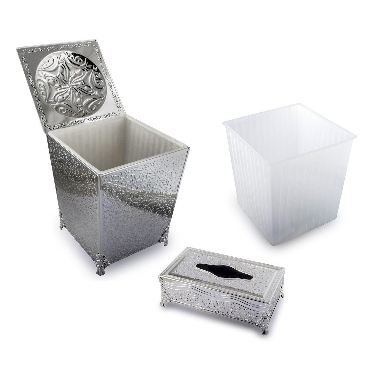Корзина для мусора и подставка для салфеток Rosenberg. S-229177.858@19113Стильный и необычный набор Rosenberg украсит интерьер или станет отличным подарком. В набор входят корзина для мусора и подставка для салфеток. Изделия выполнены из силумина и стали, с покрытием серебром. Размер корзины: 22,5 см х 22,5 см х 31 см.Размер подставки: 15 х 27 х 9 см.