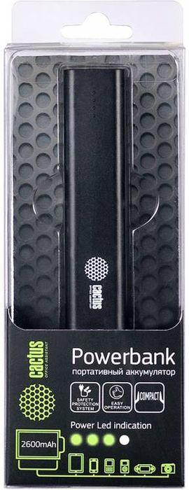 Cactus CS-PBAS120-2600BK, Black внешний аккумулятор (2600 мАч)CS-PBAS120-2600BKАккумуляторная батарея Cactus Powerbank - устройство, которое предназначено для того, чтобы продлить жизнь вашему смартфону, планшетномукомпьютеру или другому гаджету, когда у вас нет возможности зарядить его от стационарного источника питания.Cactus Powerbank оснащены надежными батареями. Система капельной подзарядки позволяет максимально сохранить заряд аккумулятора безего утечки. Специальная система Safety protection system защищает ваше устройство от возможных неисправностей, которые могут быть нанесенынекачественными аккумуляторными батареями.Индикатор состояния батареи подскажет вам уровень оставшегося заряда, а кабель, идущий в комплекте позволит заряжать Cactus Powerbankтакже и от любого компьютера.